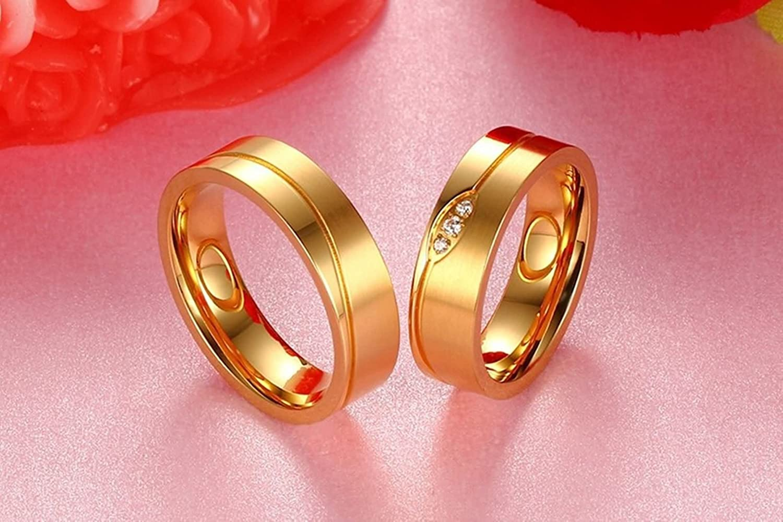 AnazoZ 2PCS Engagement Ring Set Stainless Steel Matte Finished Gold ...