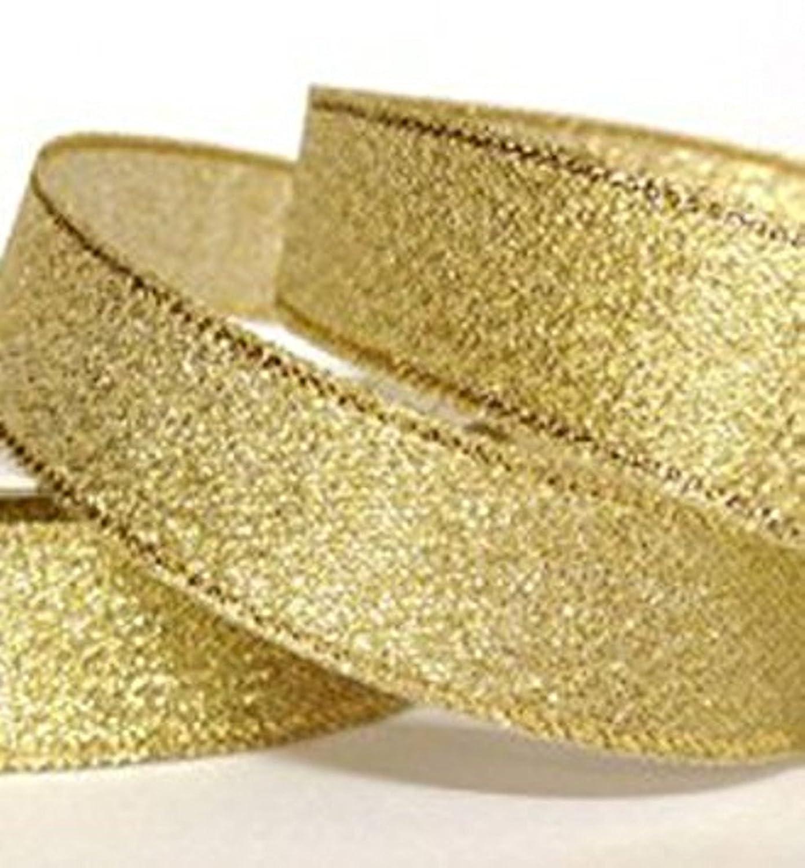 25mm Wide *** Ribbon *** GOLD ORGANZA XMAS