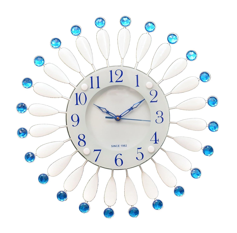 Degosh Circular Analog Blue&White Metal Glass Wall Clock
