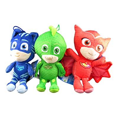 "Fiesta Toys PJ Masks Gekko Owlette Catboy 8"" Tall Plush Doll Assortment (3 Peices Set): Toys & Games"