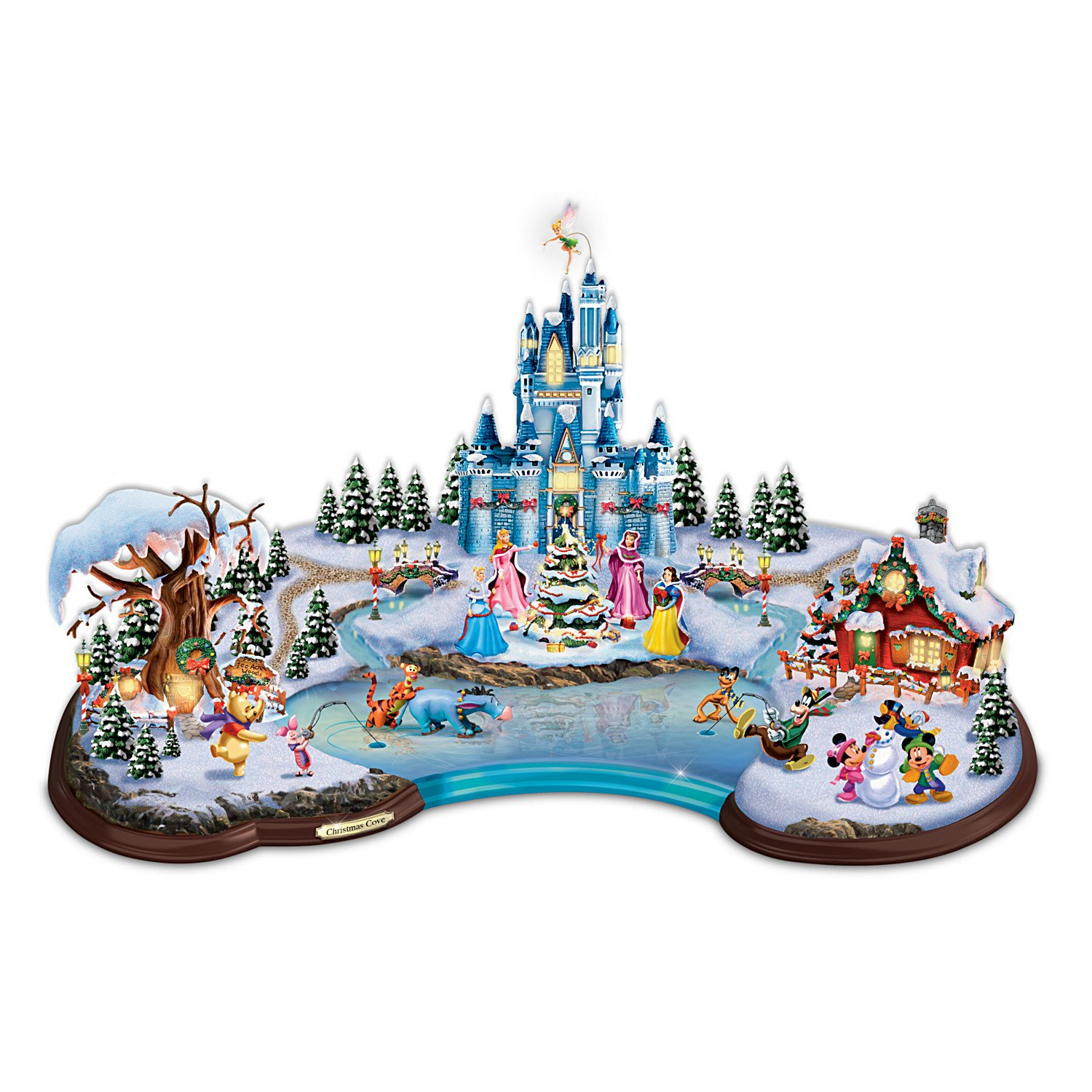 amazoncom disney light up christmas cove village sculpture by hawthorne village home kitchen - Disney Christmas Tree