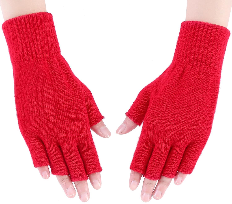 WDSKY Women's Girls' Knitted Half Finger Gloves Warm Stretchy BVKDEIG1254890