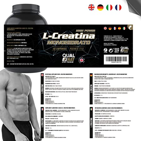 Creatina Monohidrato | Suplemento Deportivo | 180 Comprimidos -Qualnat