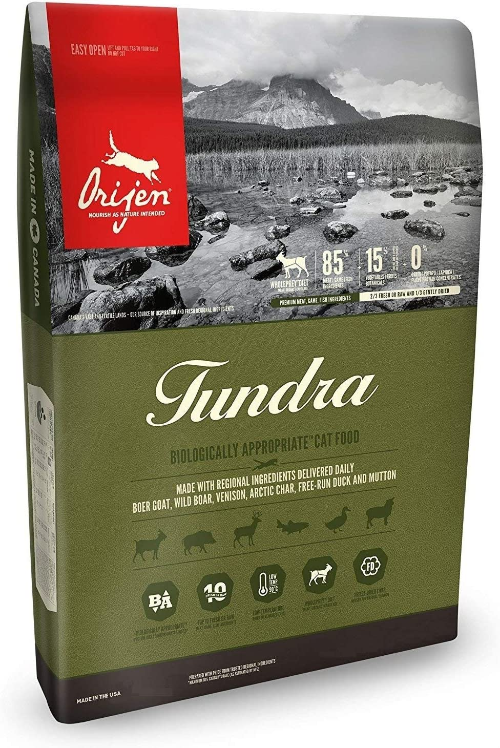 Orijen Tundra Dry Cat Food, Biologically Appropriate, 12 lb. Bag. Made with Fresh Boer Goat, Wild Boar, Venison, Arctic Char, Free-Run Duck & Mutton. Fast Delivery, by Just Jak's Pet Market