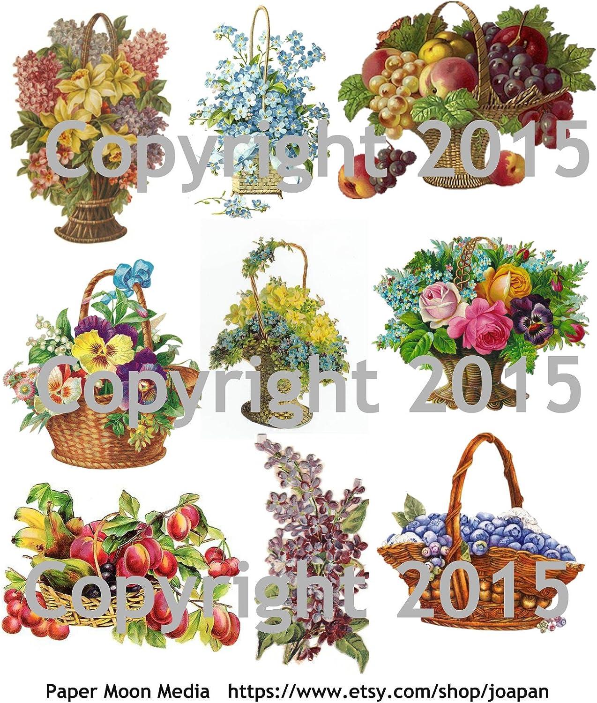 Victorian Flower Baskets Collage Sheet