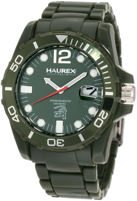 Haurex Italy Men's V7354UVV Caimano Date Green Dial Plastic Sport Watch