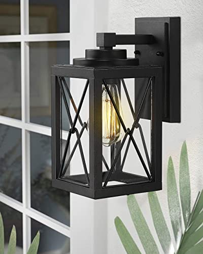 Emliviar Outdoor Wall Mount Light Fixture, Modern Exterior Wall Sconce in Black Finish with Clear Glass, 0387BK