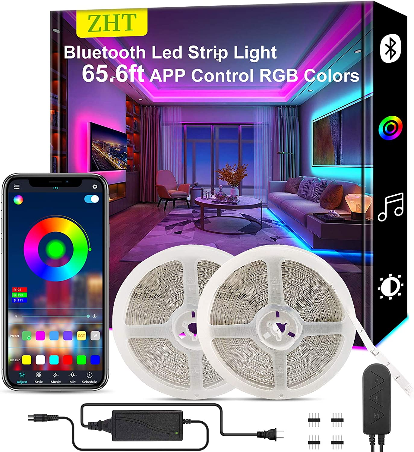 65.6ft Led Strip Lights Bluetooth, ZHT Bluetooth Ultra Long Light Teen Girls Room Decor for Bedroom Living Rooms Dining Rooms Kitchens Desks Cabinets Halloween Christmas.