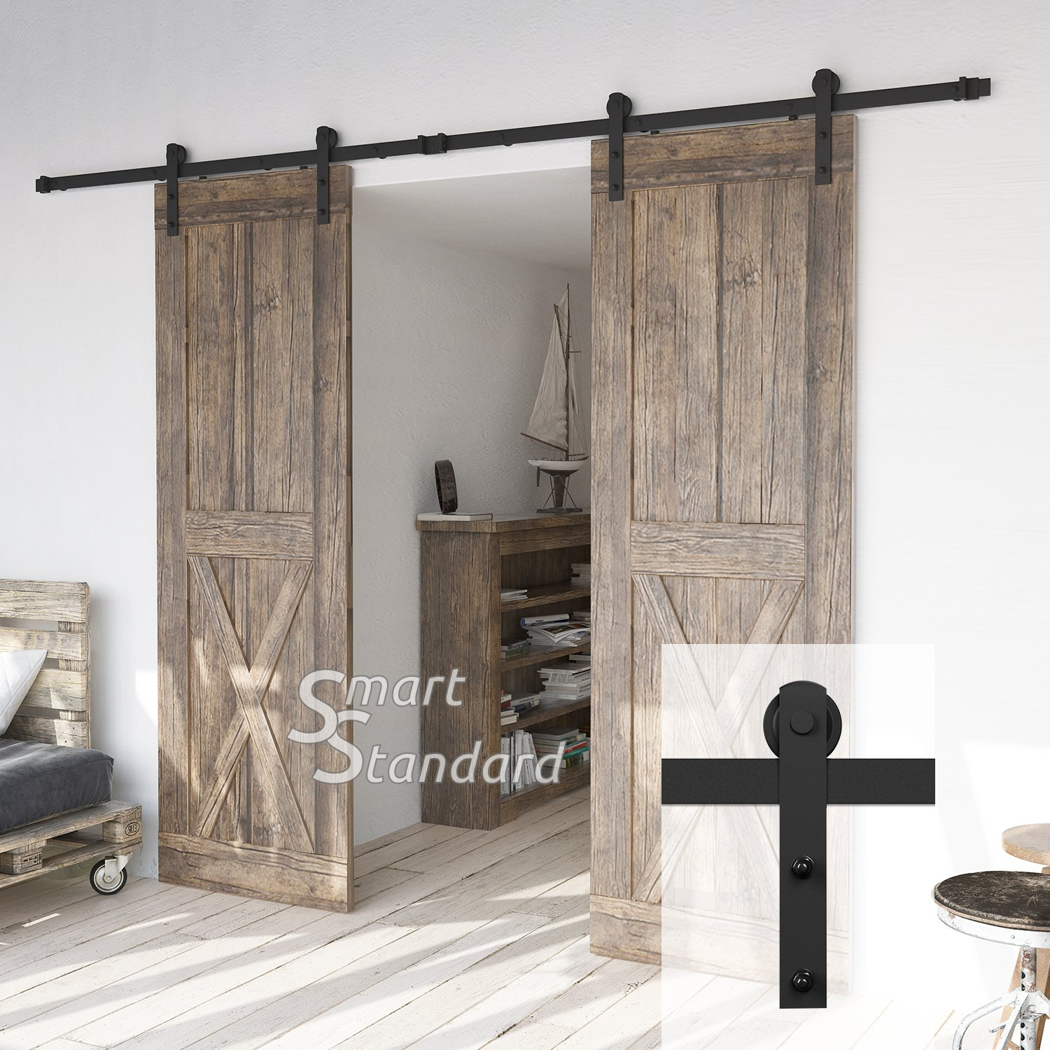10ft Heavy Duty Double Door Sliding Barn Door Hardware Kit - Super Smoothly and Quietly - Simple and Easy to Install - Includes Step-by-Step Installation Instruction - Fit 30'' Wide Door Panel(I Shape)