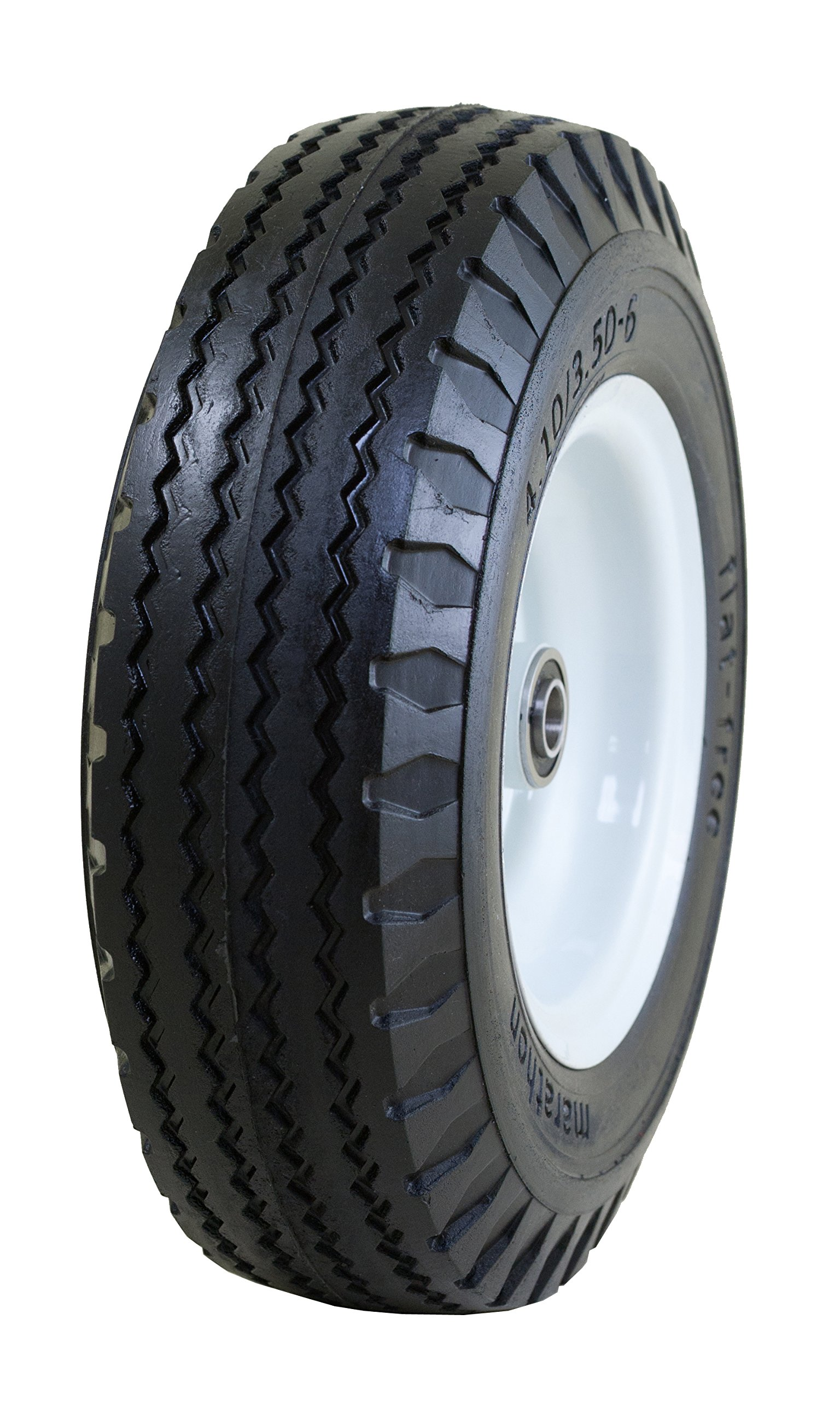 Marathon 4.10/3.50-6'' Flat Free, Hand Truck/All Purpose Utility Tire on Wheel, 2.25'' Centered Hub, 5/8'' Bearings