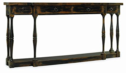 Hooker Furniture Sanctuary Four Drawer Thin Console In Ebony