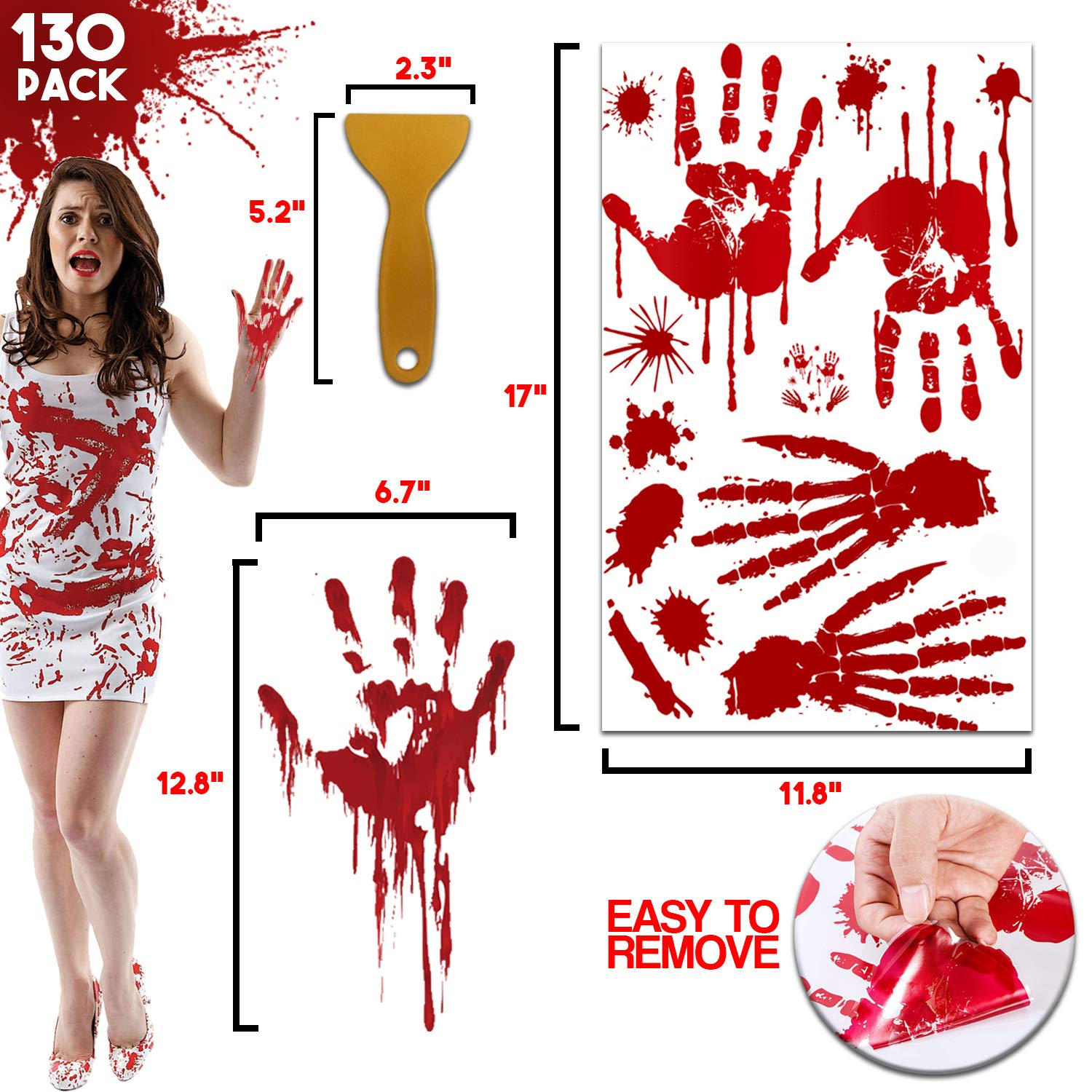 Jrodcas Halloween Decorations 130 pcs Bloody Handprint Footprint Window Decals, Wall Stickers decor Party Decorations each set INCLUDES 10 sheets 12x17 inches horror zombie party Easily Remove Wall Decals After Use by Jrodcas
