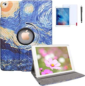 T&X iPad Mini Case for iPad Mini 4/5 Case - 360 Degree Rotating Stand Protective Hard-Cover Folding Case with Auto Wake/Sleep Feature (Starry Night)