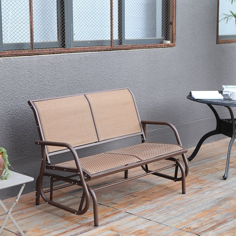 SUPERJARE Outdoor Swing Glider Chair, Patio Bench for 2 Person, Garden Rocking Seating - Brown by SUPERJARE (Image #2)