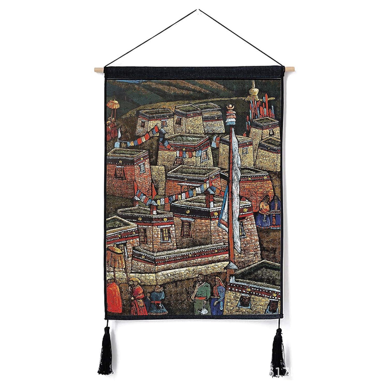 Leinen-H/ängender Dekorativer Anstrich des Stoffkastens des Hintergrundmanteltuchhintergrundtuches Und HYZCYGH Tibet-Nationaler Windbaumwoll