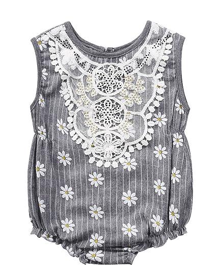 cc322a6211ea Little Girls  Daisy Print Romper Sleeveless Striped Onesies Grey ...
