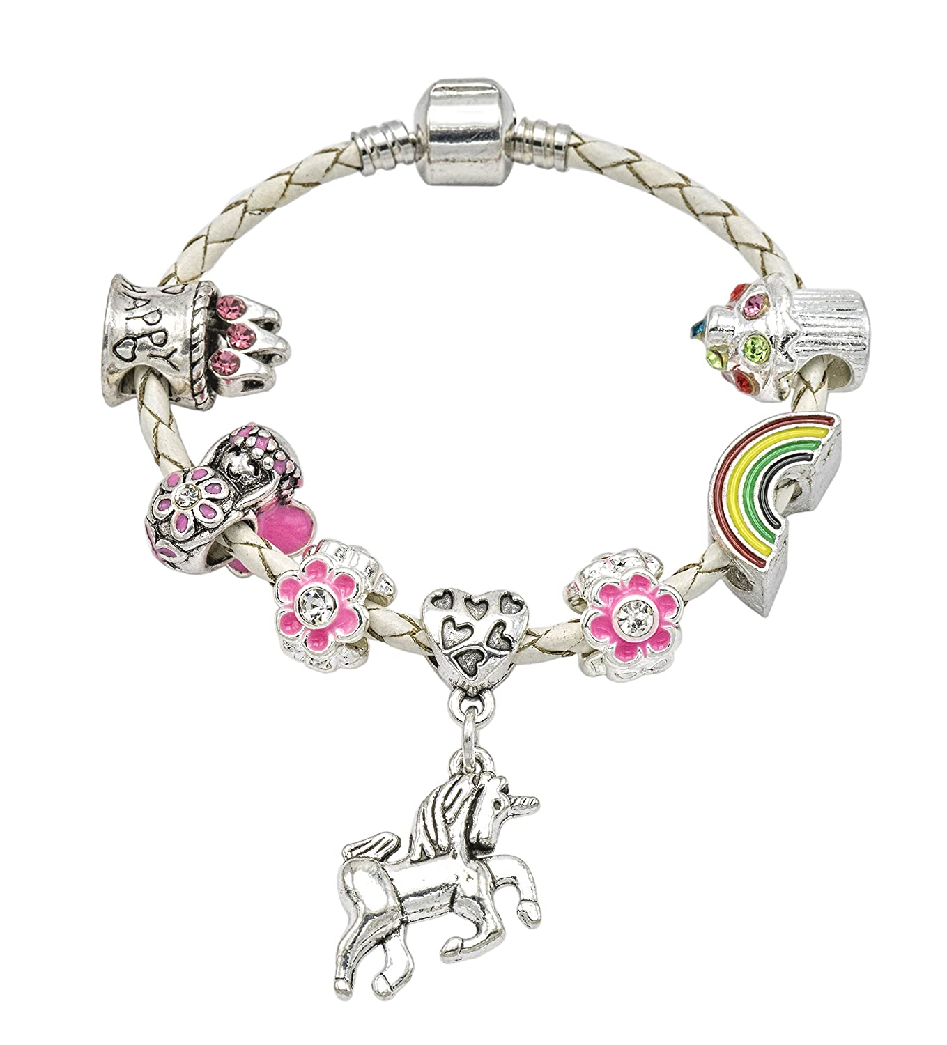 Girl's Cream Leather Unicorn Birthday Charm Bracelet with Gift Box and Unicorn Insert Jewellery Hut BRBIRTHDAYUNICORNCREAM