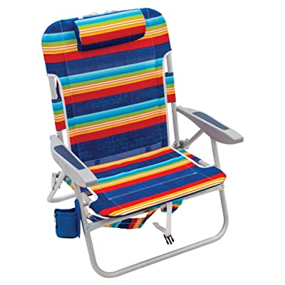 "Rio Beach Big Boy Folding 13"" High Seat Backpack Beach Or Camping Chair - Surf Power Blue/Multi Stripe : Sports & Outdoors"