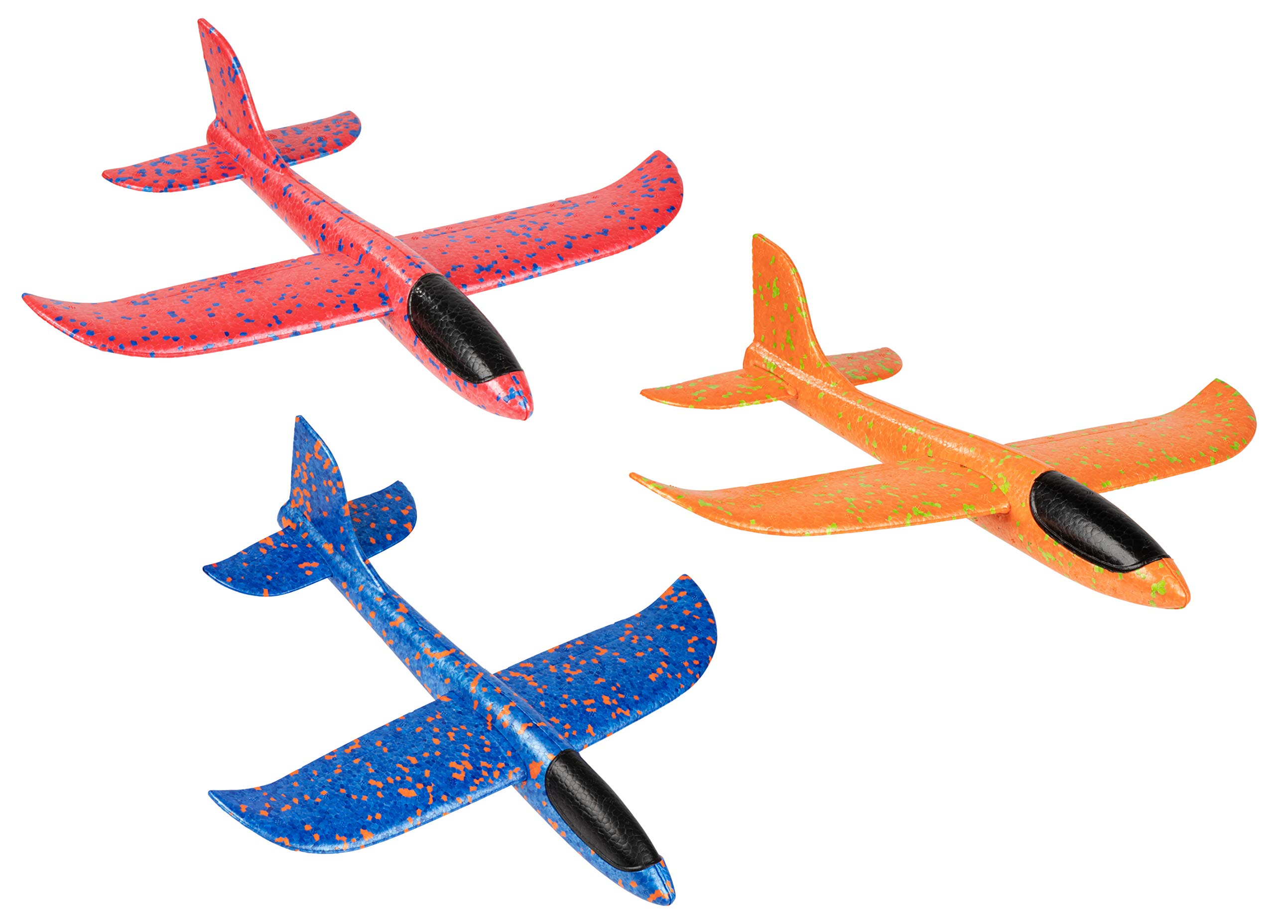 Foam Airplane Toys - 3-Pack Model Foam Plane, Manual Throwing Flying Aircraft for Kids, Outdoor Sports Game, Easy DIY Assembly, Birthday Gift, Party Favors, Blue, Red, Orange, 13.4 x 12.5 x 3 Inches by Juvale (Image #1)