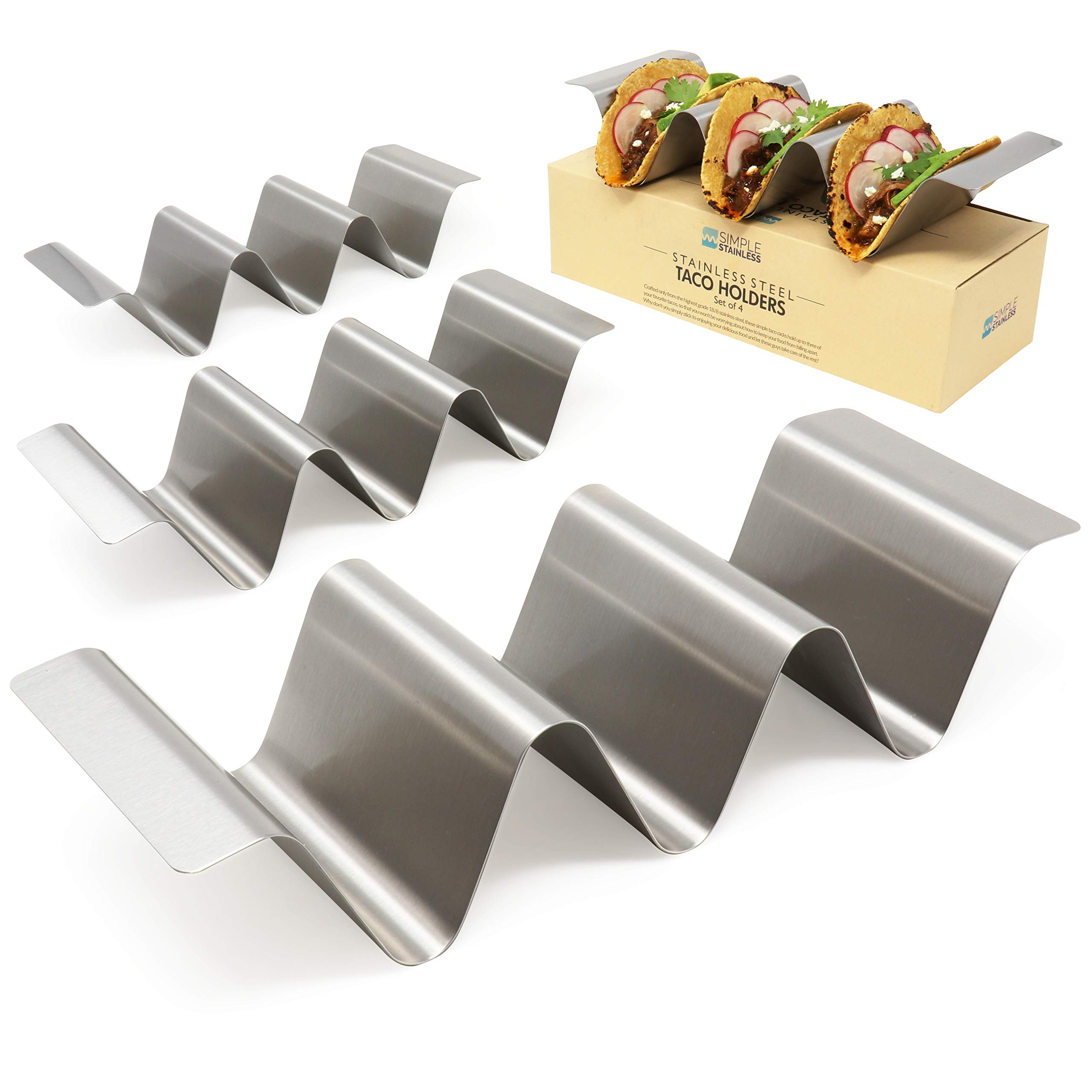 SimpleStainless Taco Holders - 3 Compartment with Unique Round Grooves Stainless Steel for Restaurant and Home Use