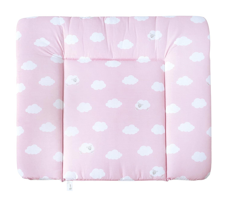 suave alfombrilla de cambiador para beb/é recubierto con pelicula de PU coleccion textil roba Little cloud rosa Alfombrilla de cambiador roba de 85x75 cm