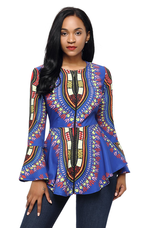 Nuevo de mujer azul oscuro Tribal africano impresión cremallera frontal chaqueta Peplum Blazer ofici...