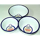 3 Round Pudding Bowls in Traditional White Enamel a Set of 3 Bowls / Basins for baking puddings