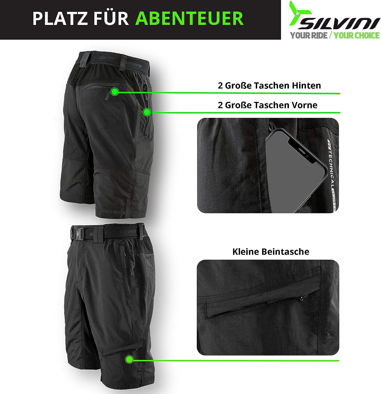 SILVINI Pantaloncini MTB Uomo Rango con 6 Tasche per Ciclismo ed attivit/à all/'Esterno