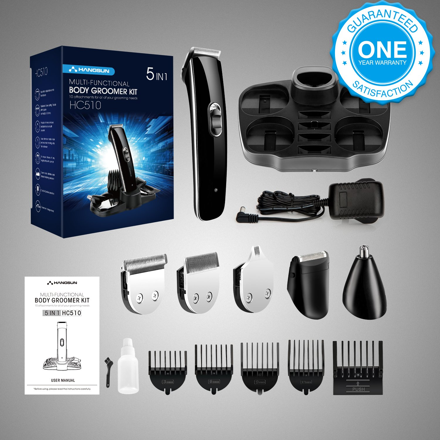 Beard Trimmer for Men, Rechargeable All-in-One Multi-Functional Grooming Kit