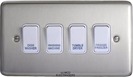 Satin Chrome Customised Kitchen Grid Switch Panel with White ...