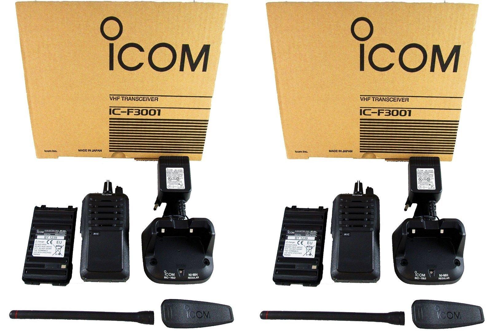 QTY 2 Icom IC-F3001 03 RC VHF 136-174MHz 5W 16 CHANNELS Two Way Radio