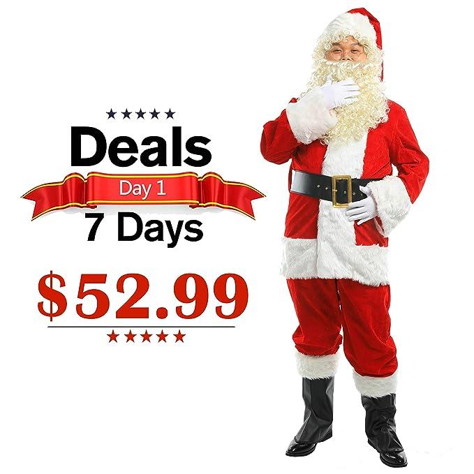 Amazon.com: ELFJOY - Disfraz de Papá Noel de felpa clásica ...