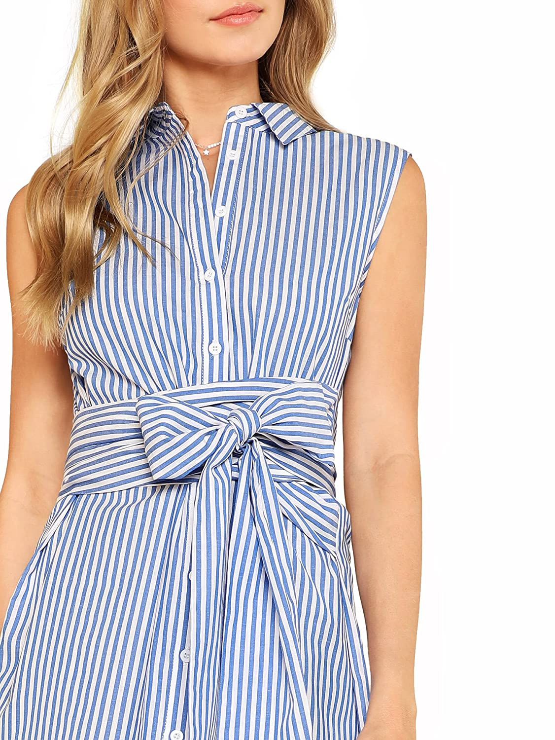 87bdedf7bf9 Romwe Women s Cute Striped Belted Button up Collar Summer Short Shirt Dress  at Amazon Women s Clothing store