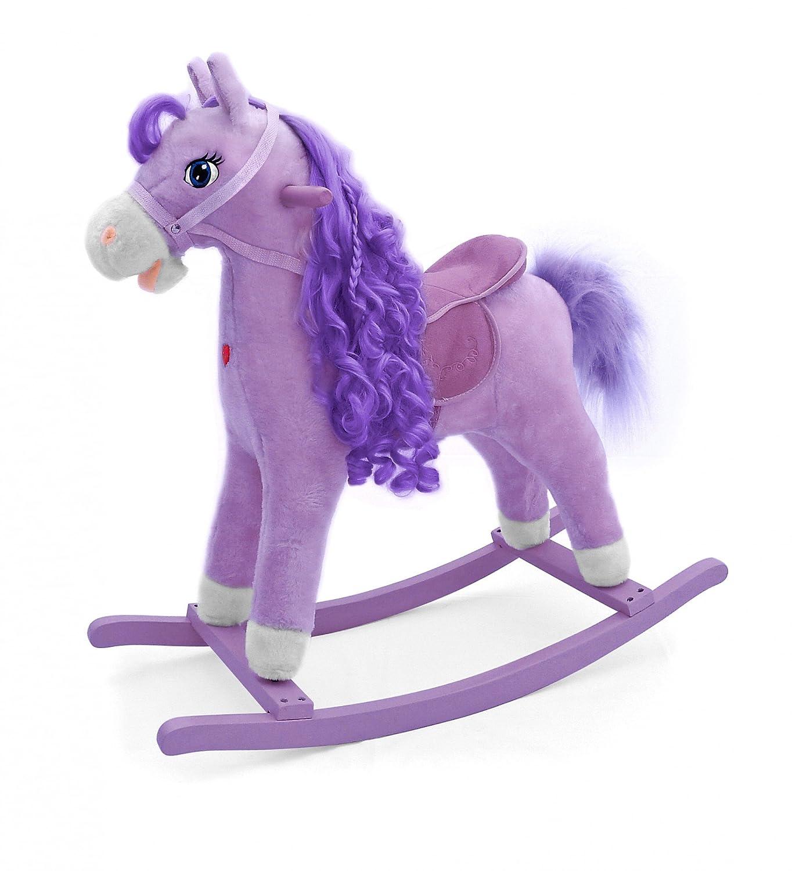 Clá sico, caballo balancí n Mustang, caballo balancí n de peluche suave - hace sonidos de caballo, Color:Rosado caballo balancín Mustang caballo balancín de peluche suave - hace sonidos de caballo MillyMally