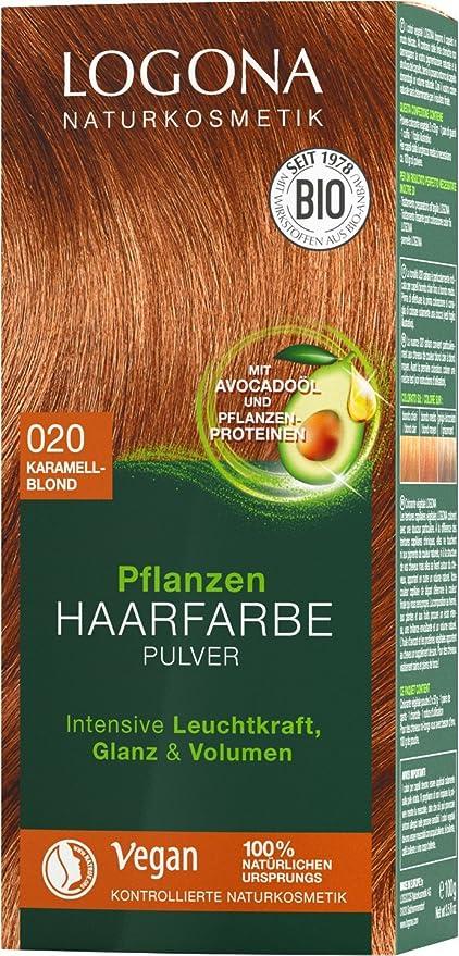 LOGONA Naturkosmetik Tinte vegetal para el cabello en polvo 020, rubio caramelo, con aceite de aguacate, vegano y natural, color rubio natural con ...