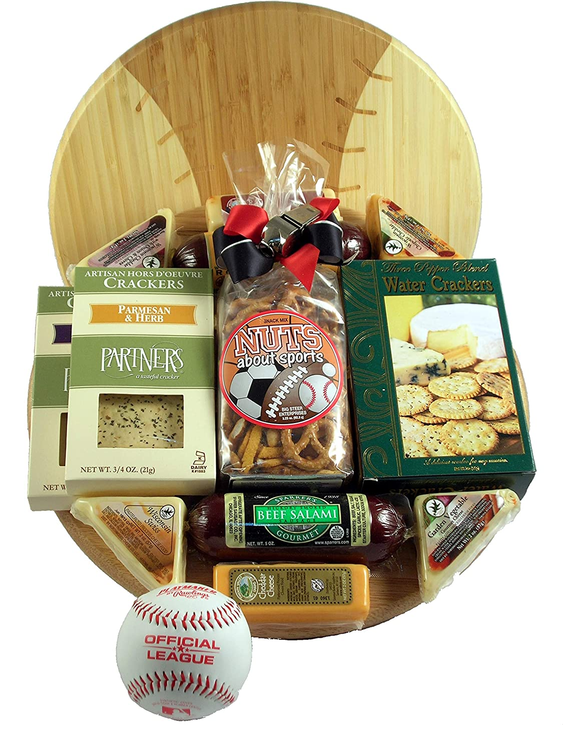 Grand Slam - Baseball Cutting Board Gift Basket With Meat and Cheese On Deluxe Baseball Cutting Board