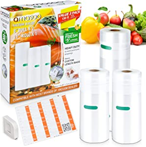 COMBO PACK (2Rolls 8''x50', 1Roll 11''x50') - AMASOO Vacuum Sealer Bags Rolls for Food, Food Saver Bags w/Cutter & Food labels | 150ft, BPA-Free, Heavy Duty | Vac Storage, Sous Vide, Meal Prep