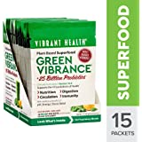 Vibrant Health - Green Vibrance, Plant-based Daily Superfood + Protein and Antioxidants, 15 Packets