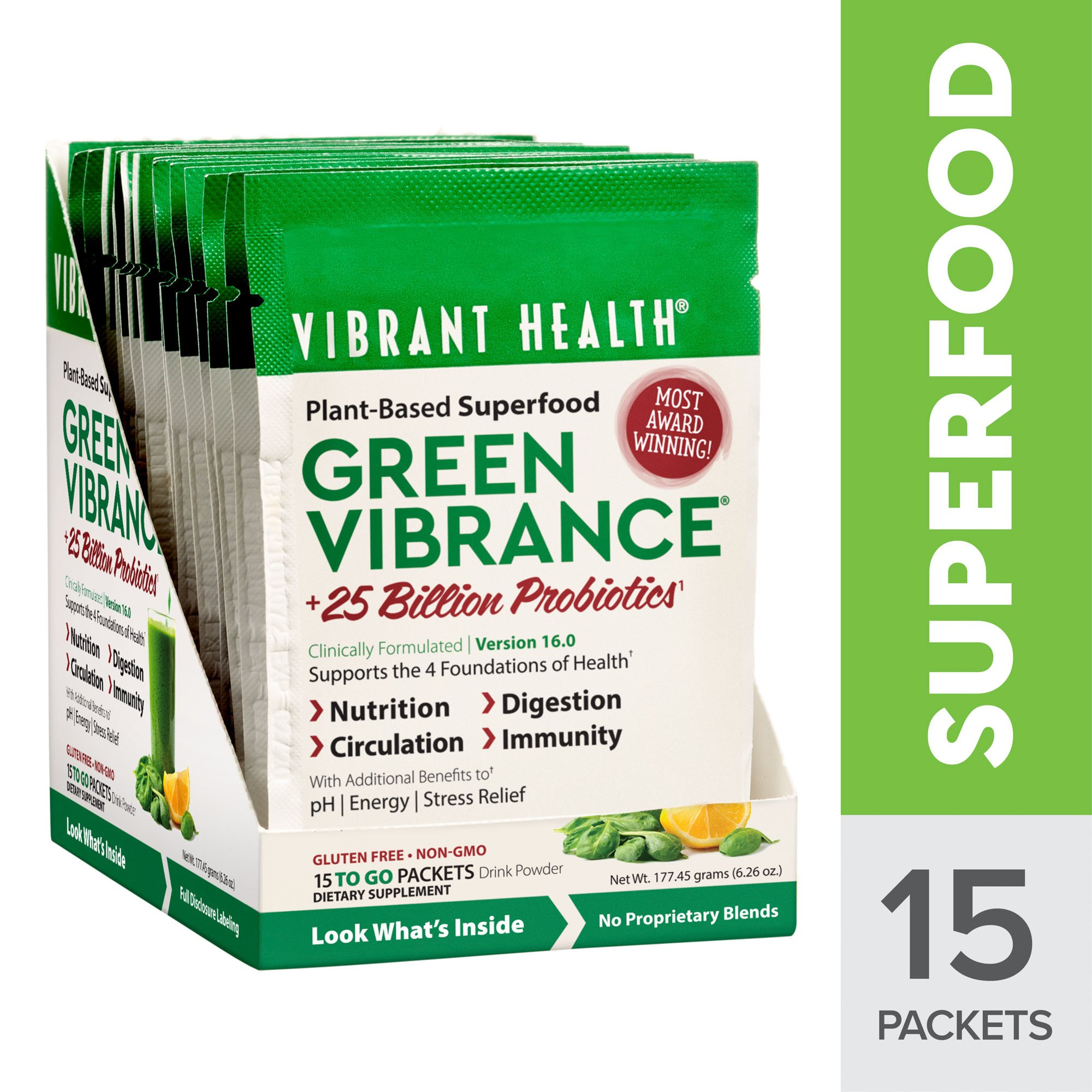 Vibrant Health - Green Vibrance, Plant-based Daily Superfood + Protein and Antioxidants, 15 Packets by Vibrant Health (Image #1)