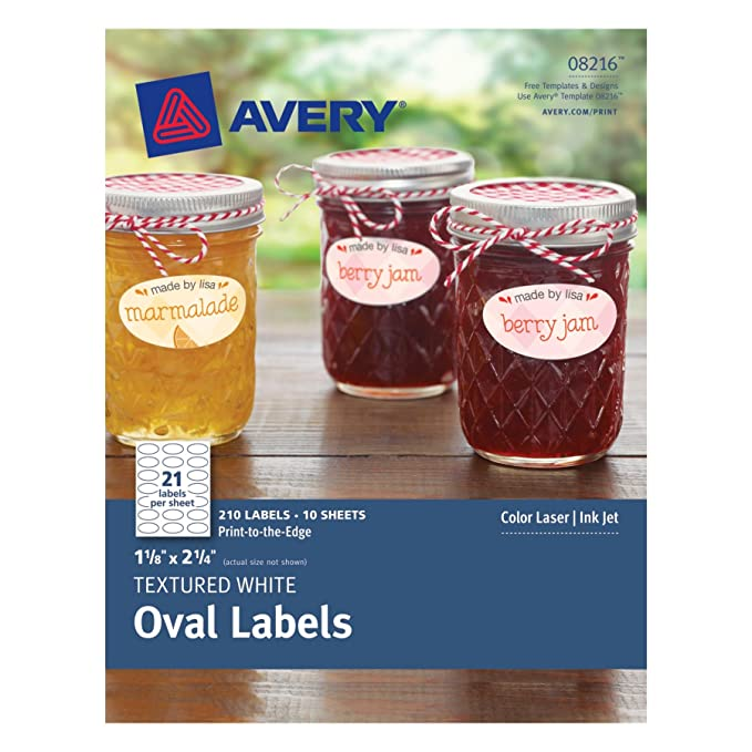 Amazon.com : Avery Textured Oval Labels, White, 1.125 x 2.25 Inches ...