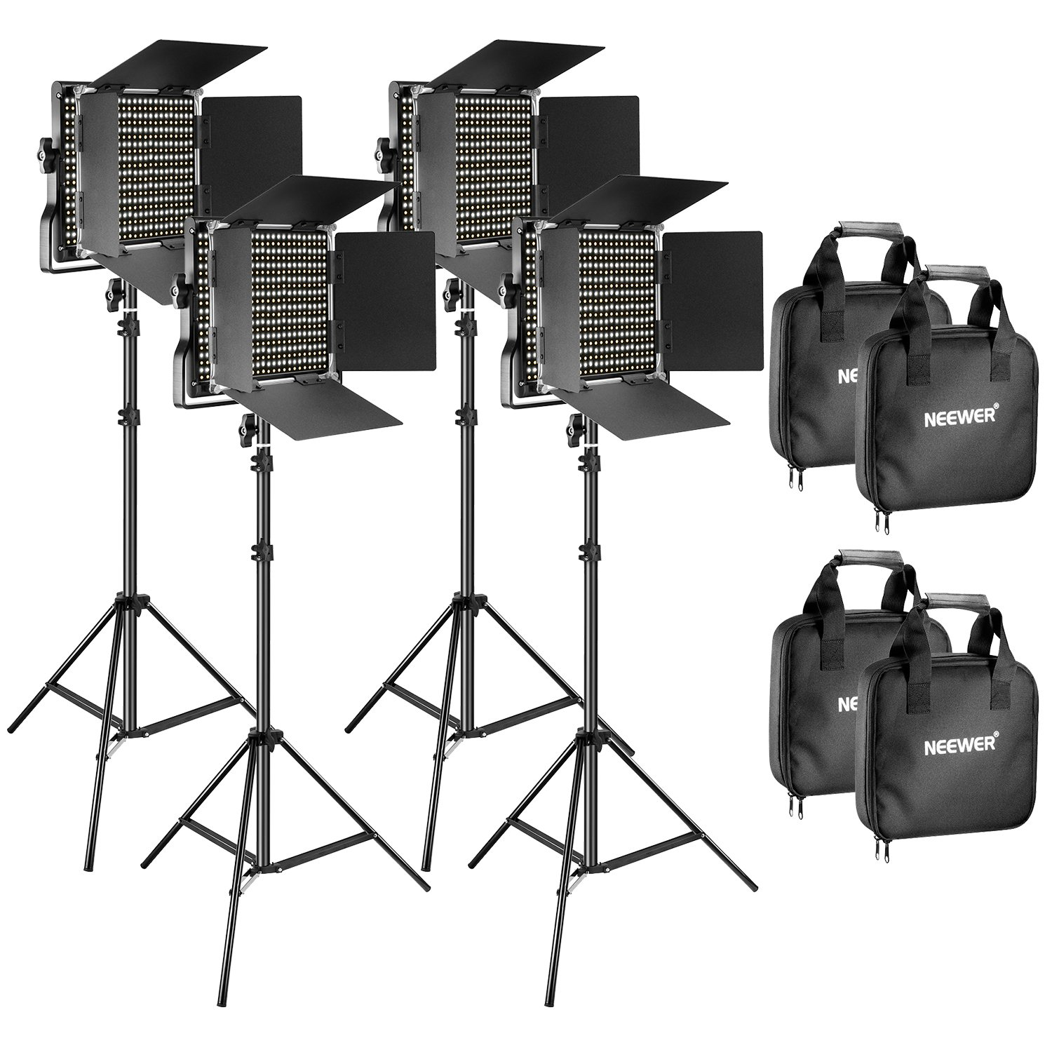 Neewer 4 Pieces Bi-Color 660 LED Video Light and Stand Kit Includes: 3200-5600K CRI 96+ Dimmable Light with U Bracket and Barndoor and 75 inches Light Stand for Studio Photography, Video Shooting by Neewer (Image #1)