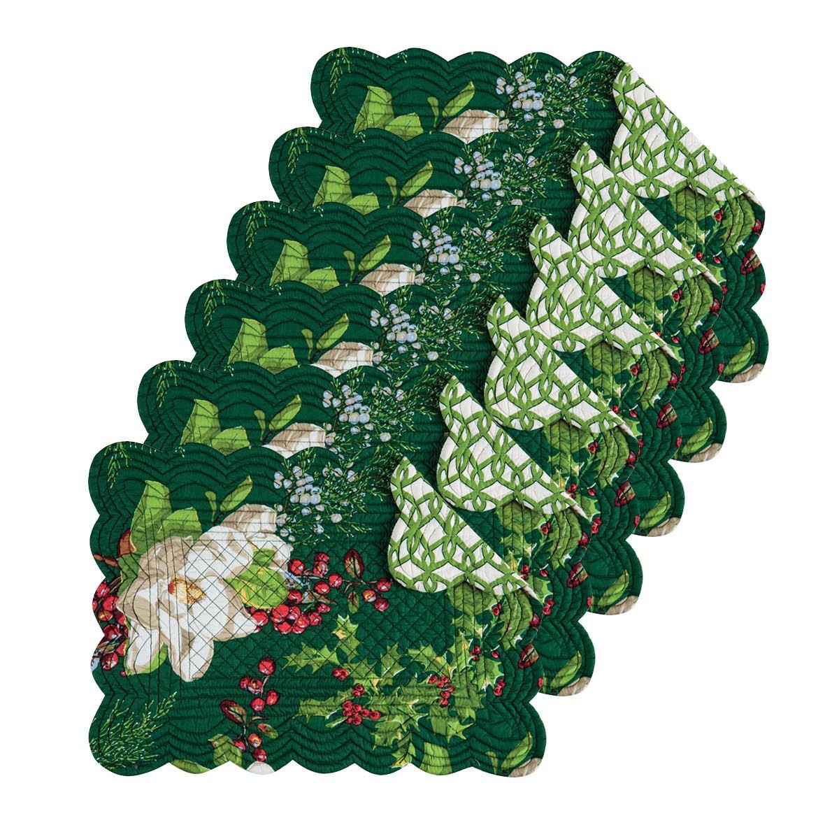 【超特価SALE開催!】 Bella Magnolia Magnolia Tabletop親 Rectangular Placemat Set of Set 6 グリーン B0762PBDCP 862622340S6 Rectangular Placemat Set of 6 B0762PBDCP, ナカハラク:e48fac15 --- a0267596.xsph.ru