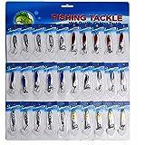 Sougayilang 30pcs 5 Styles Metal Spoon Fishing Lure with Treble Hooks
