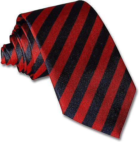 Corbata de nudo grande - rayas rojas y azules - Franklin 7 pliegues doblar seda