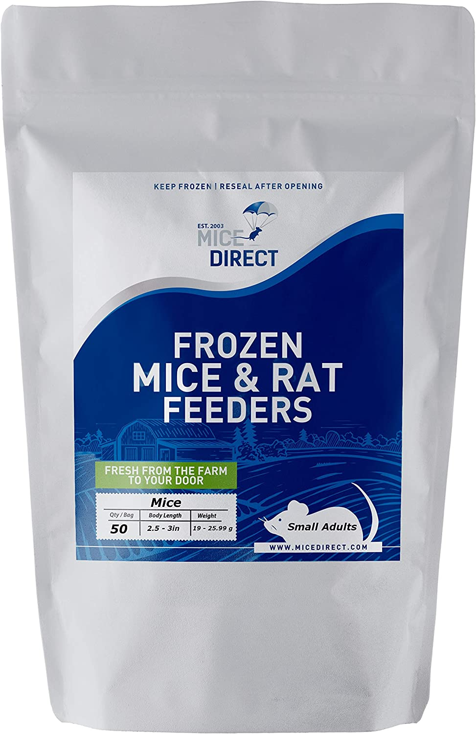 MiceDirect 50 Small Adult Mice: Pack of Frozen Small Adult Feeder Mice - Food for Corn Snakes, Ball Pythons, Lizards and Other Pet Reptiles - Freshest Snake Feed Supplies