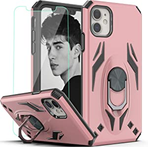 YmhxcY iPhone 11 Phone Case 6.1 inch (2019) with HD Screen Protector, Military Grade Phone Case with Rotating Holder Kickstand for iPhone 11-TX Rose Gold