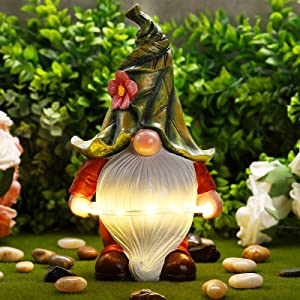 Garden Resin Gnome Statue Cute Shaped Gnome Figurine Outdoor Garden Waterproof Figurine with Solar Powered LED Lights for Home Garden Outdoor Indoor Decor Supplies