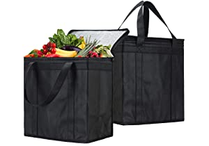 NZ Home 2 Pack Insulated Grocery Bag, Collapsible, EZ Pack, Strengthened Handles, Dual Sliders Zipper