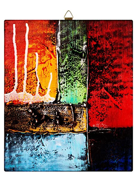 Story Home Modern Abstract Art Framed Wall Painting Frame Canvas 28 Cm X 24 Cm Orange
