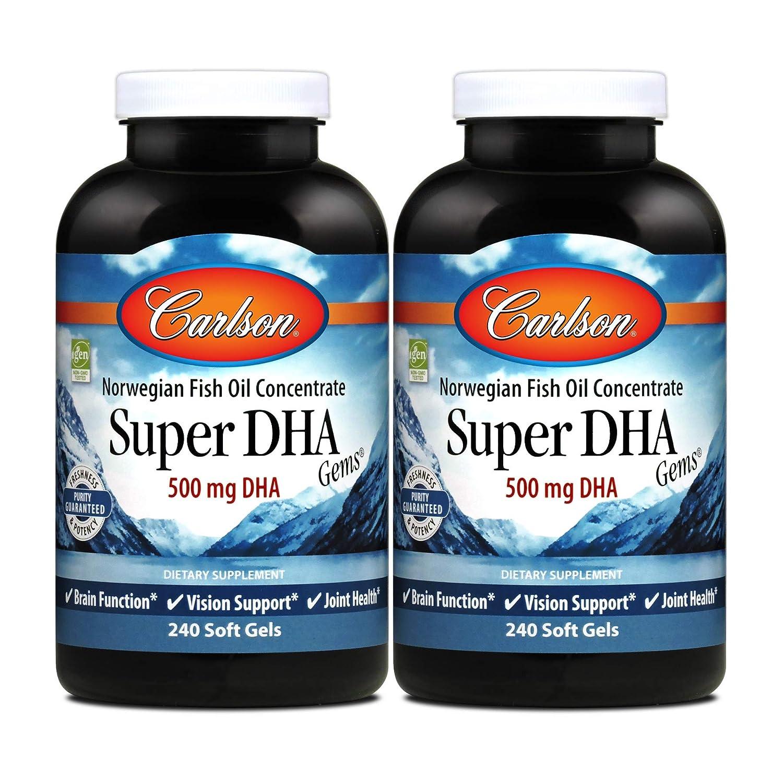 Carlson Super DHA Gems, Norwegian, 500 mg DHA, Heart & Brain Health, 240 Soft Gels, (2 Pack)
